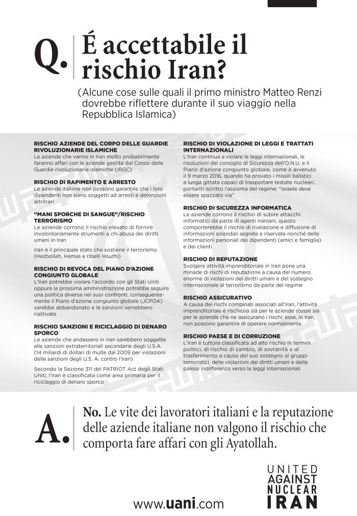 UANI_IranWorthRiskAd_Italian